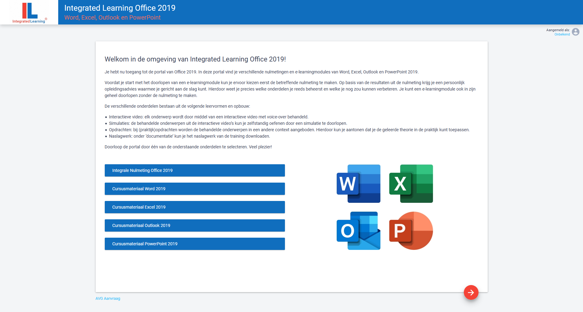 Integrated Learning Office 2019 portal